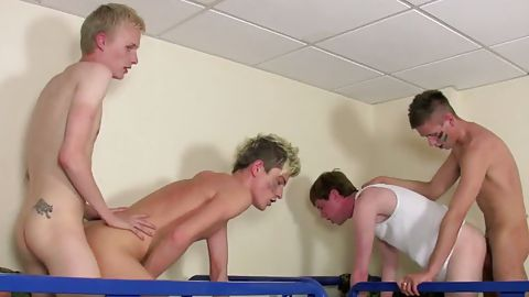 Naked jocks touching each other
